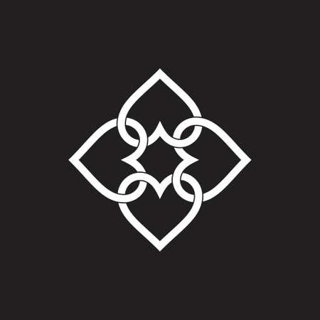 colorful linked love shape geometric linear logo vector