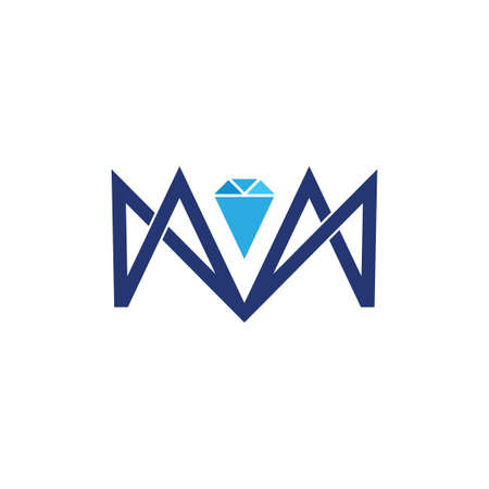letter m line geometric diamond logo vector