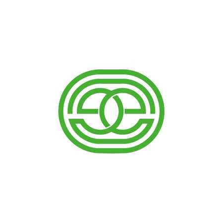 letter ee linked circle geometric line symbol logo vector Vectores