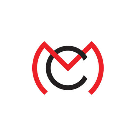 letter cm circle linked geometric line logo vector