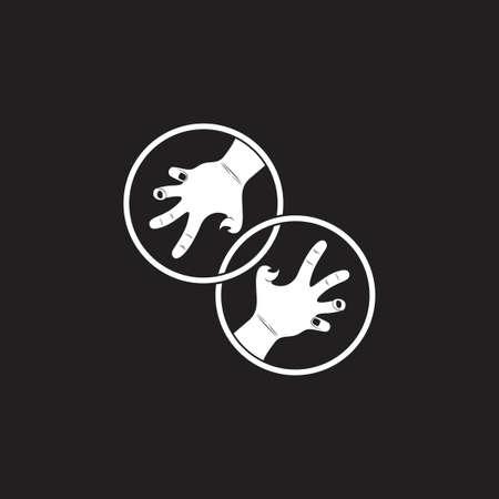 linked grunge violence scary hand symbol decoration vector