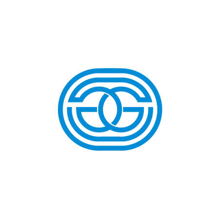 letter gg linked circle geometric line symbol logo vector Vectores