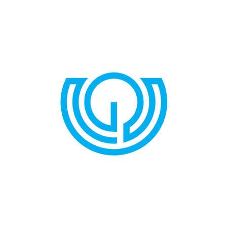 abstract letter u stripes geometric lin logo vector Logo