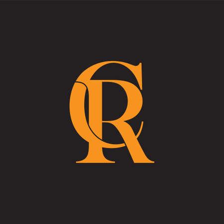 letter cr linked connected design symbol vector