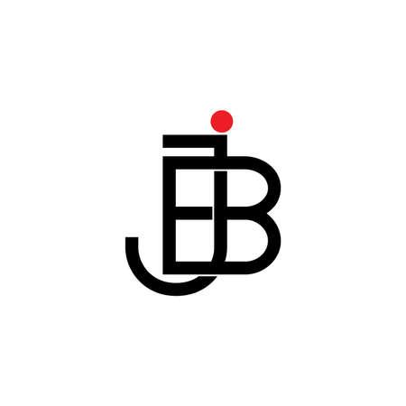 letter jb line overlapping logo vector