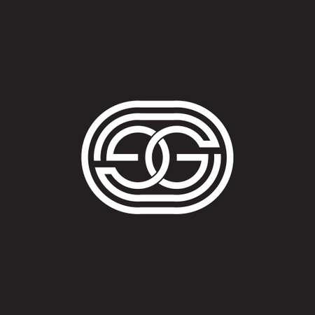 letter eg linked line circle round design symbol vector