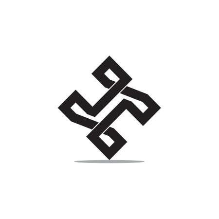 letter th infinity line logo vector Logó