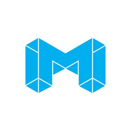 letter m 3d geometric blue diamond logo vector