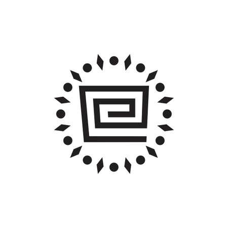 letter e ethnic design symbol vector