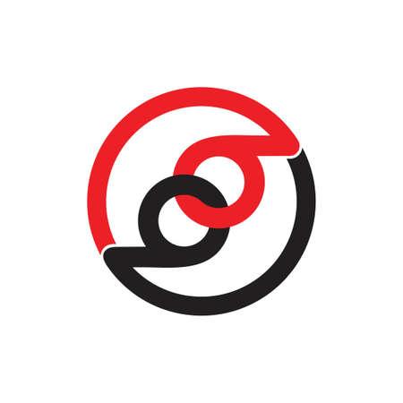 letter 69 link chain overlap logo vector