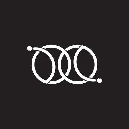 linked circle geometric line dots chain logo vector