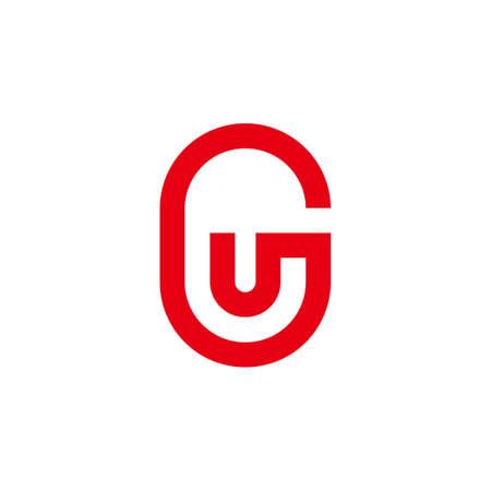 letter gu simple geometric line symbol logo vector Logo