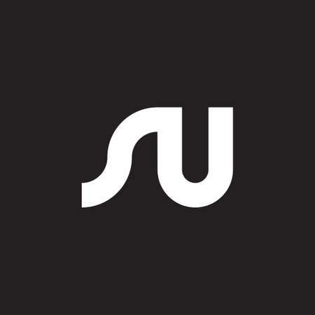 letter nu simple geometric line logo vector