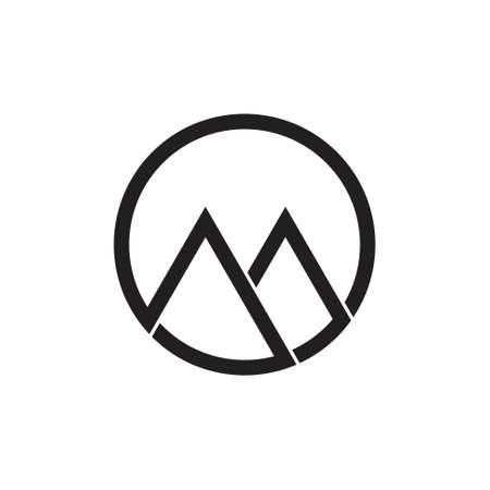letter om geometric mountain logo vector Logo