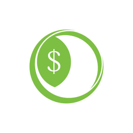 green money leaf grow symbol logo vector