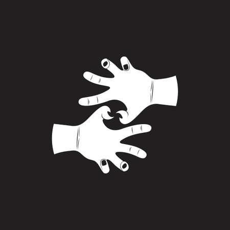 linked grunge violence scary hand symbol decoration vector Ilustracja