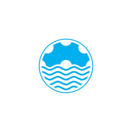 cog machine symbol, ocean water wave design logo vector Çizim