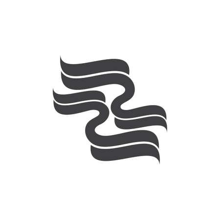 3d ribbon curves wind flow logo vector
