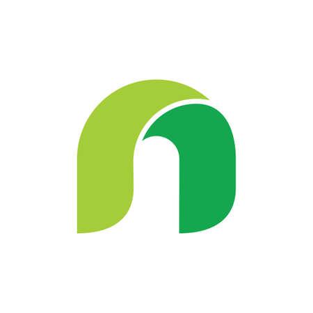 letter n curves 3d design logo vector