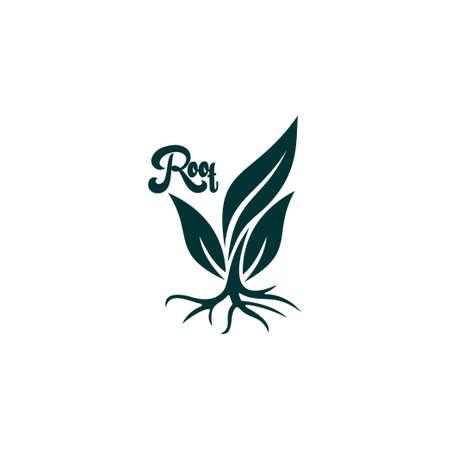 symbol vector of tree root curves flat geometric design logo