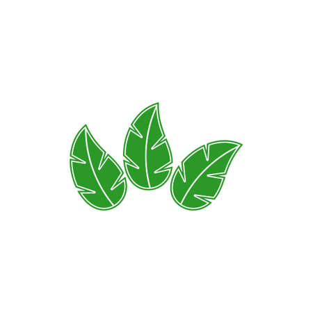 three leaves simple geometric design vector fit for food herb product decoration