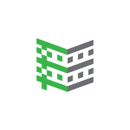tall hospital building geometric design logo vector