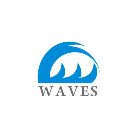simple geometric waves motion design vector fit for surfing product Çizim