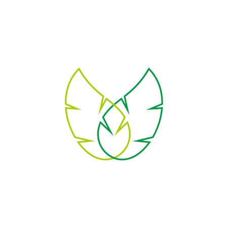 linked leaf linear design geometric style vector fit for decoration logo Çizim