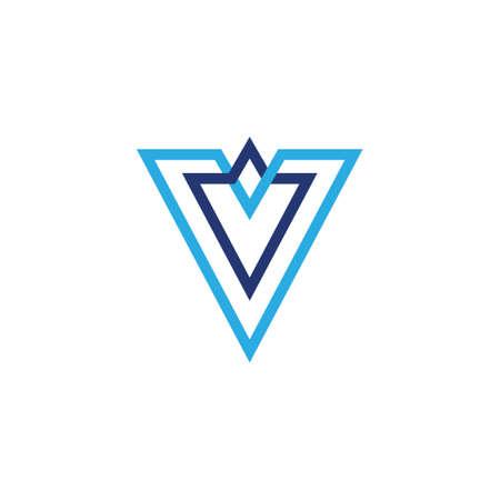 letter v linked lines blue colors logo vector Çizim
