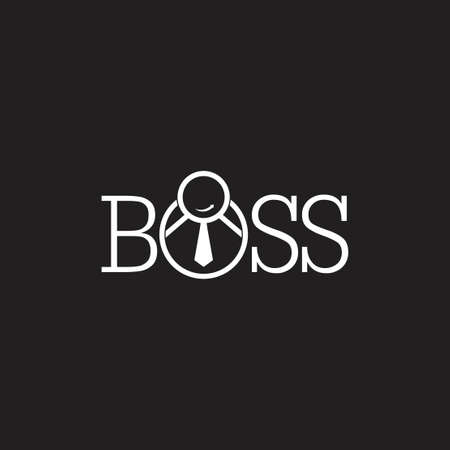 text boss people with necktie suit symbol vector