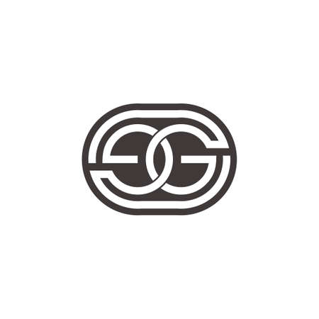 letter eg linked negative space design symbol vector