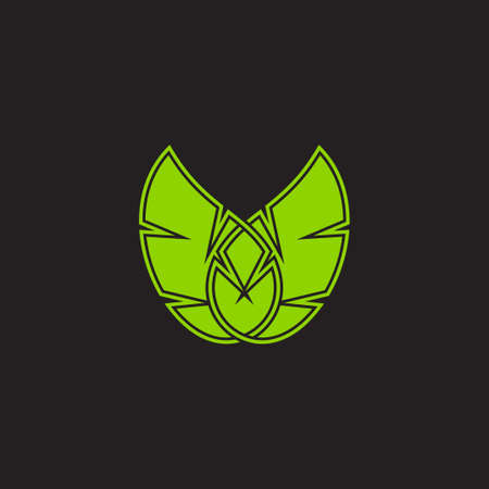 linked leaf letter v design geometric style vector fit for decoration logo Çizim