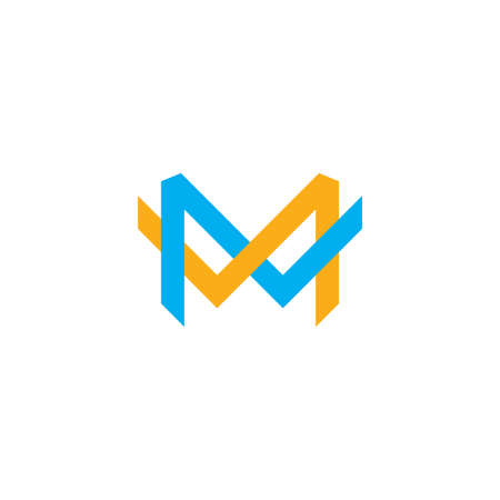 letter m overlapping colorful logo vector Çizim