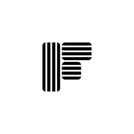 letter f stripes geometric simple logo vector