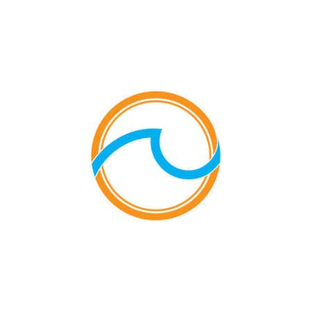 sun waves circle geometric simple logo vector Çizim