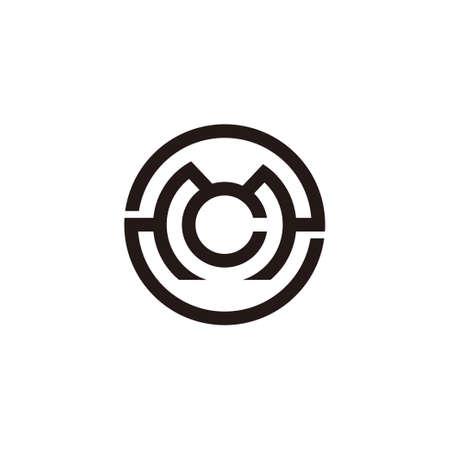letter mc symbol circle geometric line logo vector Çizim