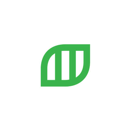 letter m symbol green nature geometric design logo vector