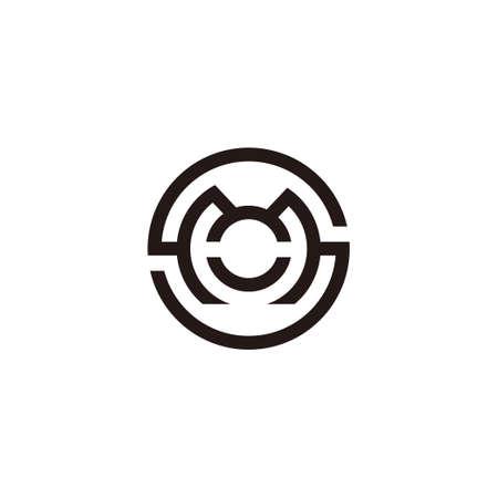 letter sm symbol circle geometric line logo vector