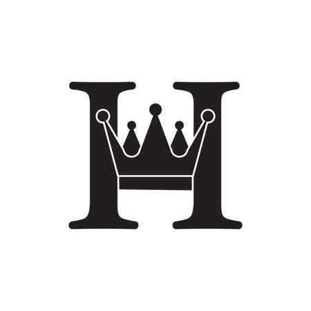 letter h crown flat geometric logo vector Çizim