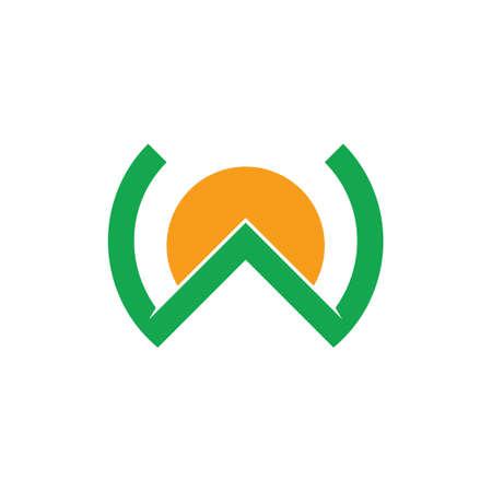 letter w mountain sun design logo vector