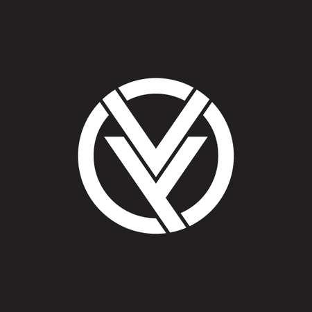 letters vy circle geometric logo vector Stok Fotoğraf