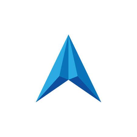 simple 3d arrow up geometric logo
