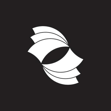 colorful paper swirl geometric icon vector