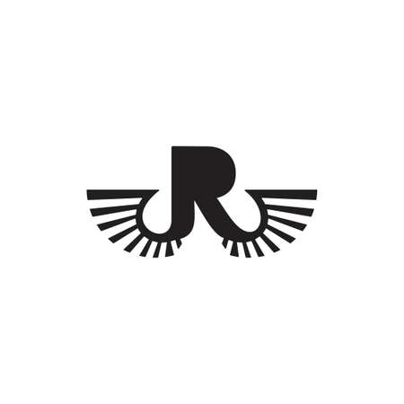 letter r wings icon vector
