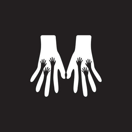 hand helping a lot of people symbol vector Иллюстрация