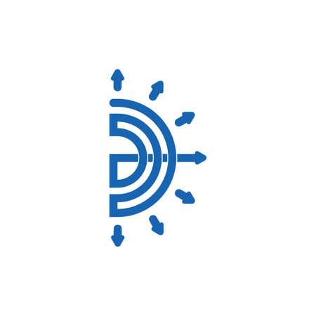 abstract letter d bow arrow line geometric logo vector Çizim