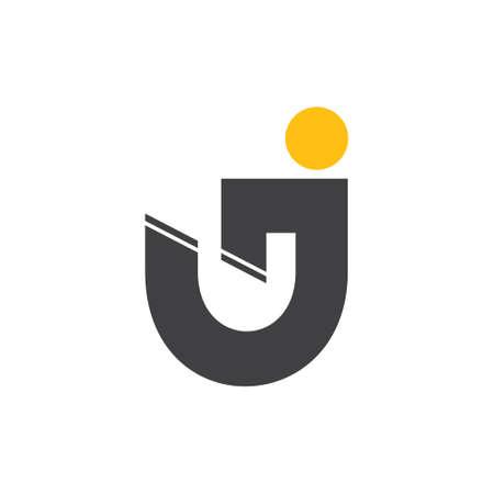 letter uj simple geometric  logo vector 向量圖像