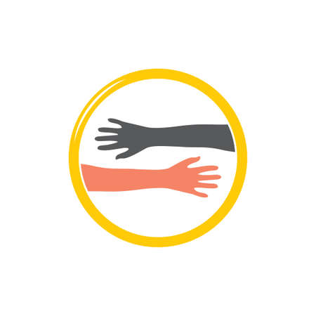 help friendly hand symbol vector