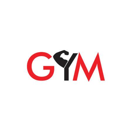 text gym strong arm symbol vector