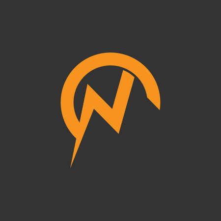 letter n thunder shape geometric logo vector